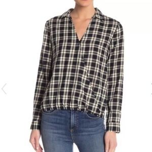 MADEWELL ARION PLAID WRAP FRONT TOP